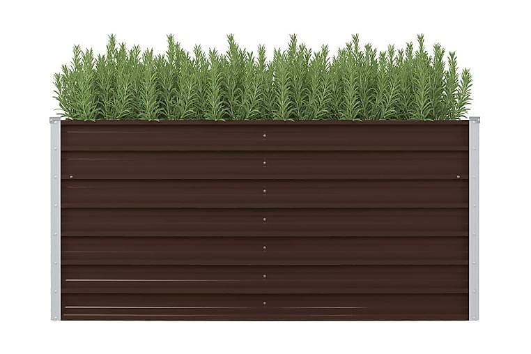 Hevet blomsterkasse brun 160x80x77 cm galvanisert stål - Brun - Hagemøbler - Tilbehør utendørs - Hagekrukker