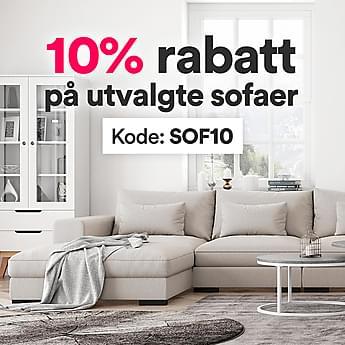 10% rabatt på utvalgte sofaer