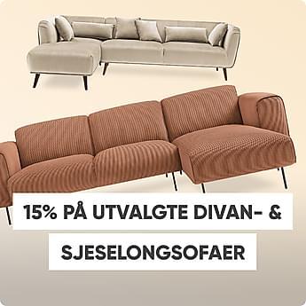 15% på utvalgte divan- & sjeselongsofaer