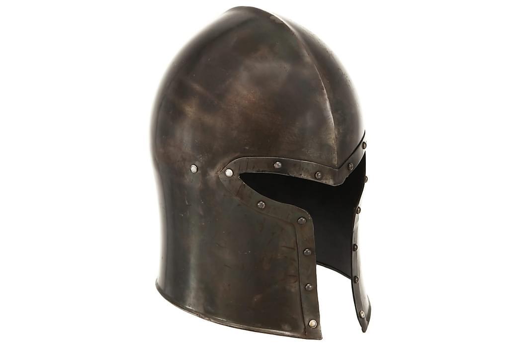 Middelaldersk ridderhjelm antikk replika LARP sølv stål - Innredning - Dekorasjon - Innredningsdetaljer