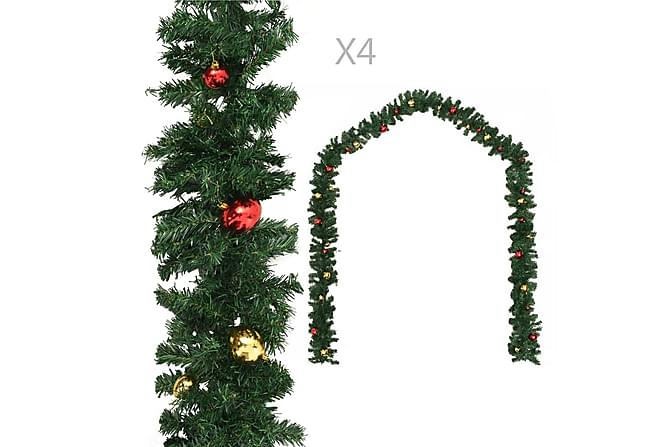 Julegarland med kuler 4 stk grønn 270 cm PVC - grönn - Innredning - Dekorasjon - Julepynt & juledekorasjon