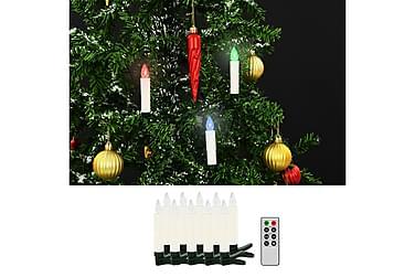 Trådløse LED-julestearinlys med fjernkontroll 10 stk RGB