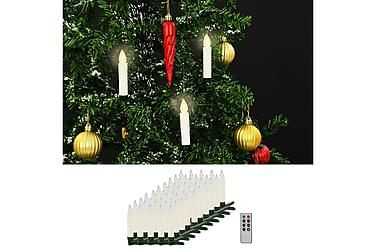 Trådløse LED-stearinlys med fjernkontroll 50 stk varmhvit
