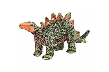 Stående lekedinosaur stegosaurus grønn og oransje XXL