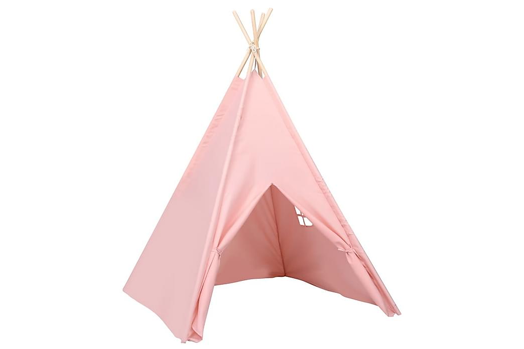 Tipi-telt for barn med pose ferskenhud rosa 120x120x150 cm - Rosa - Innredning - Innredning barnerom - Dekorasjon til barnerom