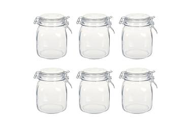 Glasskrukker med lokk 6 stk 1 L
