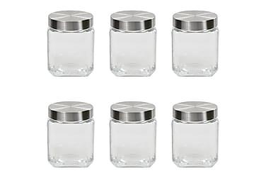 Oppbevaringskrukker med sølvt lokk 6 stk 1200 ml