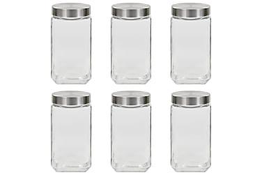 Oppbevaringskrukker med sølvt lokk 6 stk 2100 ml
