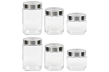 Oppbevaringskrukker med sølvt lokk 6 stk 800/1200/1700 ml
