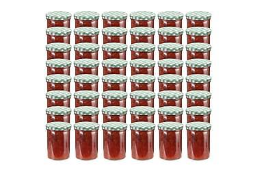 Syltetøyglass med hvite og grønne lokk 48 stk 400 ml
