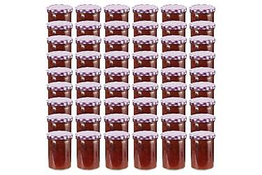 Syltetøyglass med hvite og lilla lokk 48 stk 400 ml