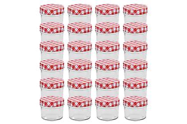 Syltetøyglass med hvite og røde lokk 24 stk 110 ml
