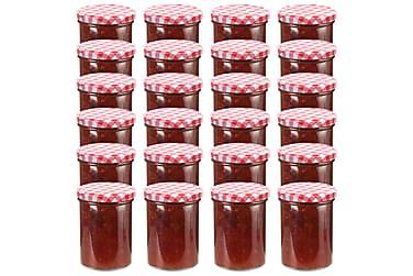 Syltetøyglass med hvite og røde lokk 24 stk 400 ml
