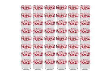 Syltetøyglass med hvite og røde lokk 48 stk 110 ml