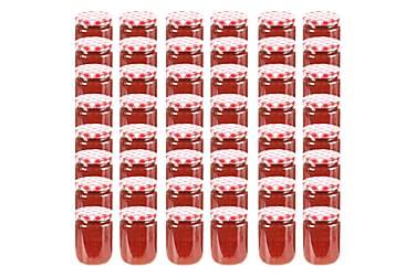Syltetøyglass med hvite og røde lokk 48 stk 230 ml