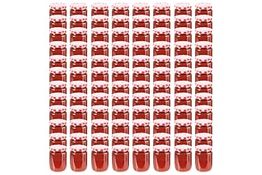 Syltetøyglass med hvite og røde lokk 96 stk 230 ml