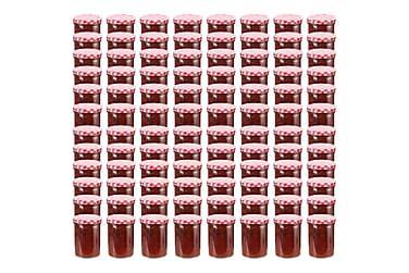 Syltetøyglass med hvite og røde lokk 96 stk 400 ml