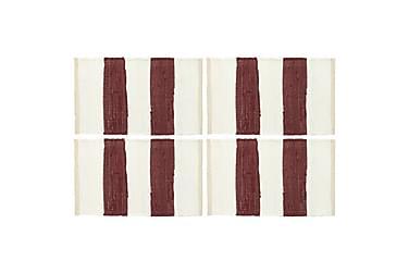 Bordmatter 4 stk Chindi stripet burgunder hvit 30x45 cm