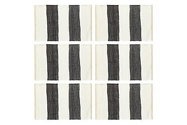 Bordmatter 6 stk Chindi stripet antrasitt hvit 30x45 cm