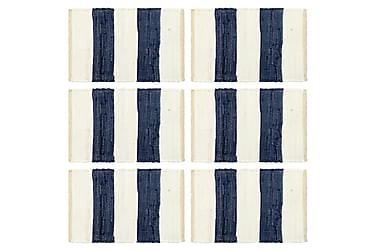 Bordmatter 6 stk Chindi stripet blå og hvit 30x45 cm