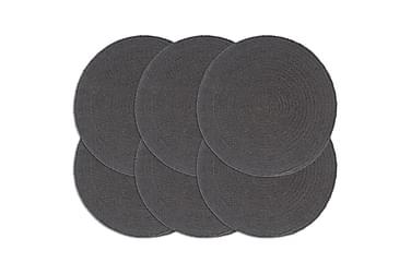 Bordmatter 6 stk ren grå 38 cm rund bomull