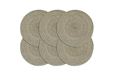 Bordmatter 6 stk ren grå 38 cm rund jute
