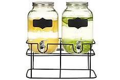 Drikkedispensere 2 stk med stativ 2 x 4 L glass