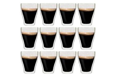 Dobbeltvegget espressoglass 12 stk 370 ml