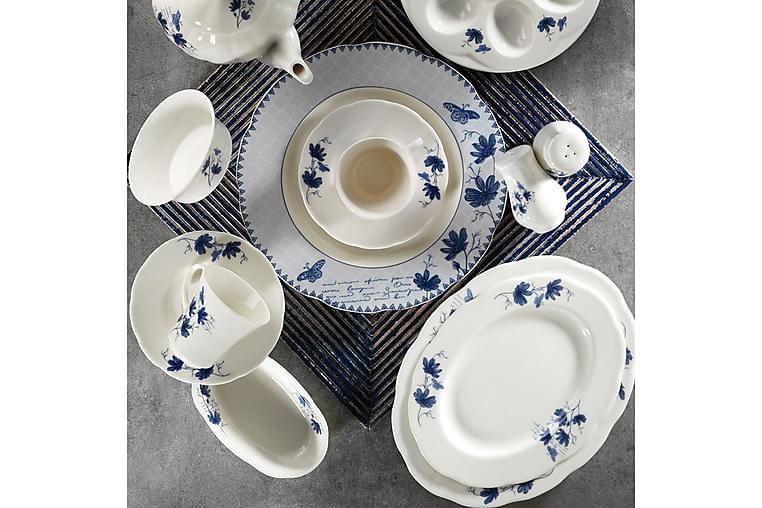 Kütahya Frokostsett 36 Deler Porselen - Hvit/Blå - Innredning - Kjøkkenutstyr - Porselen