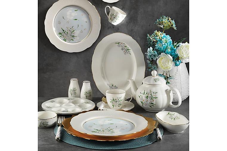 Kütahya Frokostsett 36 Deler Porselen - Hvit/Gull/Flerfarget - Innredning - Kjøkkenutstyr - Porselen