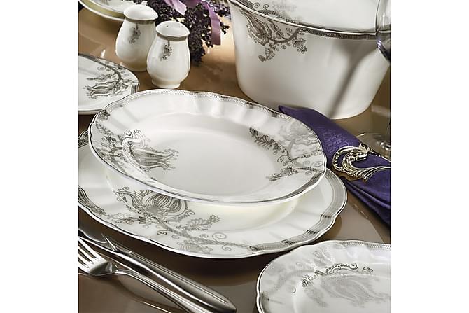 Kütahya Middagsservise 84 Deler Porselen - Hvit/Sølv - Innredning - Kjøkkenutstyr - Porselen