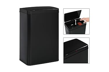 Automatisk søppelbøtte med sensor svart stål 60 L