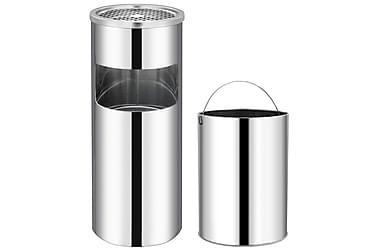 Søppelkasse med askebeger 30 L rustfritt stål