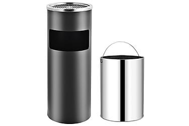 Søppelkasse med askebeger 30 L stål grå