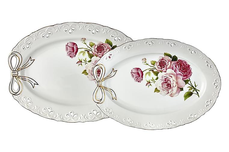 Noble Life Serveringsfatsett 2 Deler Porselen - Rosa/Gull/Hvit - Innredning - Kjøkkenutstyr - Serveringsbrett