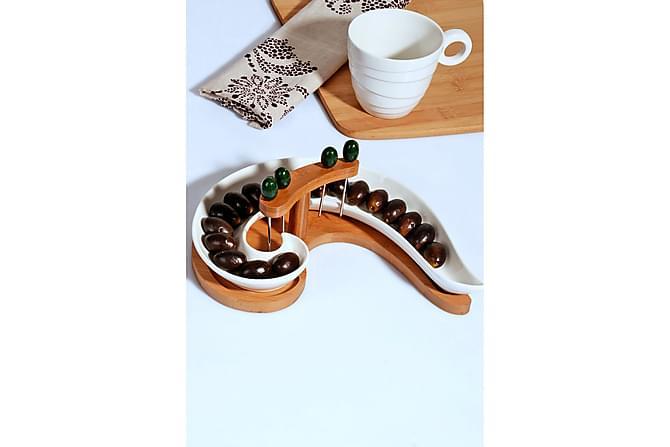 Kosova Olivenfat 9,5 cm Bambus/Porselen - Hvit - Innredning - Kjøkkenutstyr - Serveringsfat