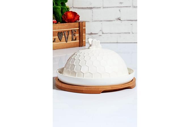 Kosova Smørboks 17 cm Rund Bambus/Porselen - Hvit - Innredning - Kjøkkenutstyr - Skåler & bakeskåler