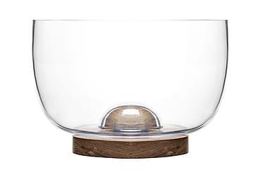 Oval oak Skål Glass