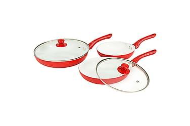 Stekepannesett 5 deler rød aluminium