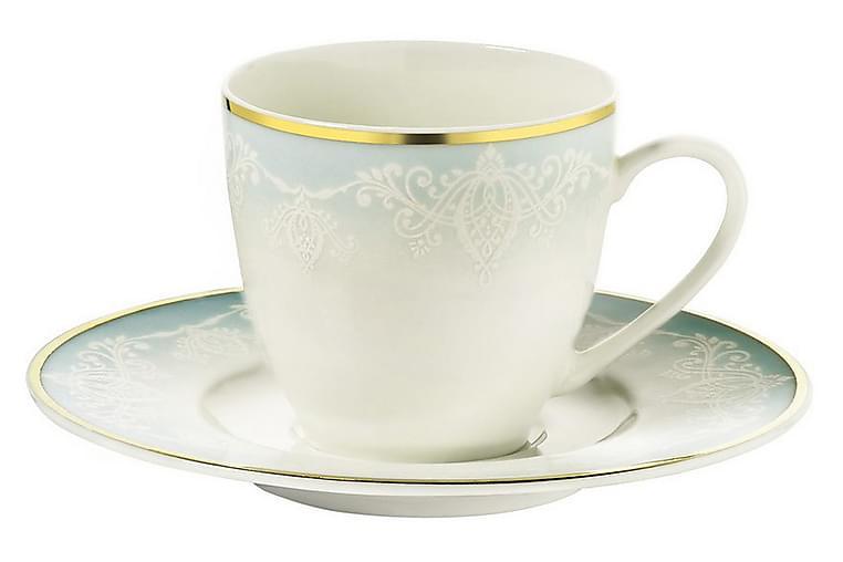 Kütahya Kaffeservise 12 Deler Porselen - Hvit/Gull/Turkis - Innredning - Kjøkkenutstyr - Tallerkener
