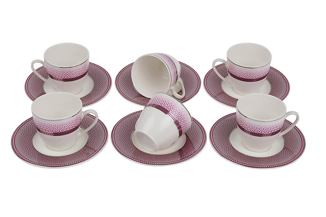 Kütahya Kaffeservise 12 Deler Porselen - Hvit/Rosa/Sølv - Innredning - Kjøkkenutstyr - Tallerkener