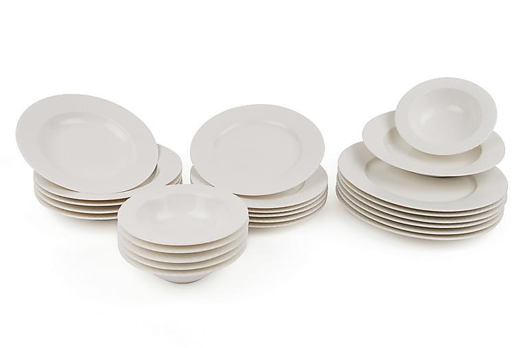 Kütahya Middagsservise 24 Deler Porselen - Hvit - Innredning - Kjøkkenutstyr - Tallerkener