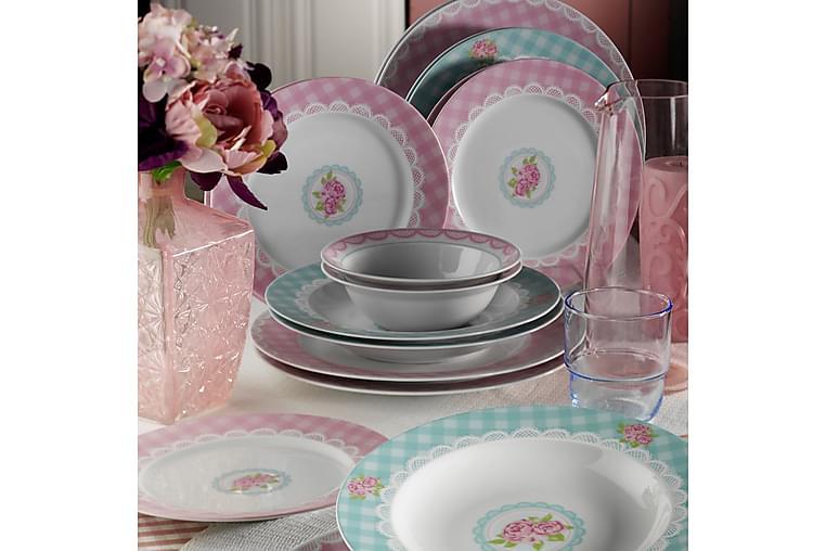 Kütahya Middagsservise 24 Deler Porselen - Hvit/Blå/Rosa - Innredning - Kjøkkenutstyr - Tallerkener