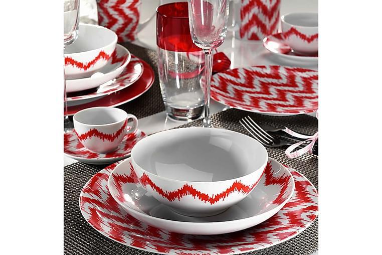 Kütahya Middagsservise 24 Deler Porselen - Hvit/Rød - Innredning - Kjøkkenutstyr - Tallerkener