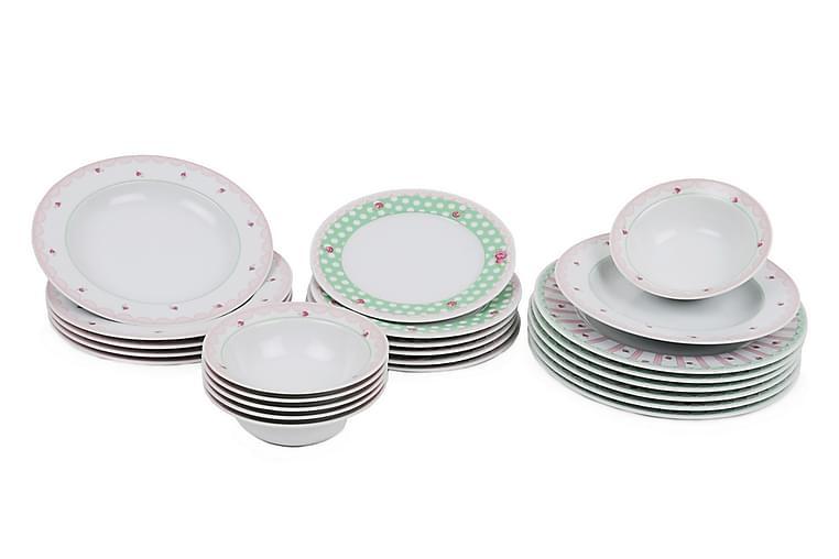 Kütahya Middagsservise 24 Deler Porselen - Hvit/Rosa/Grønn - Innredning - Kjøkkenutstyr - Tallerkener