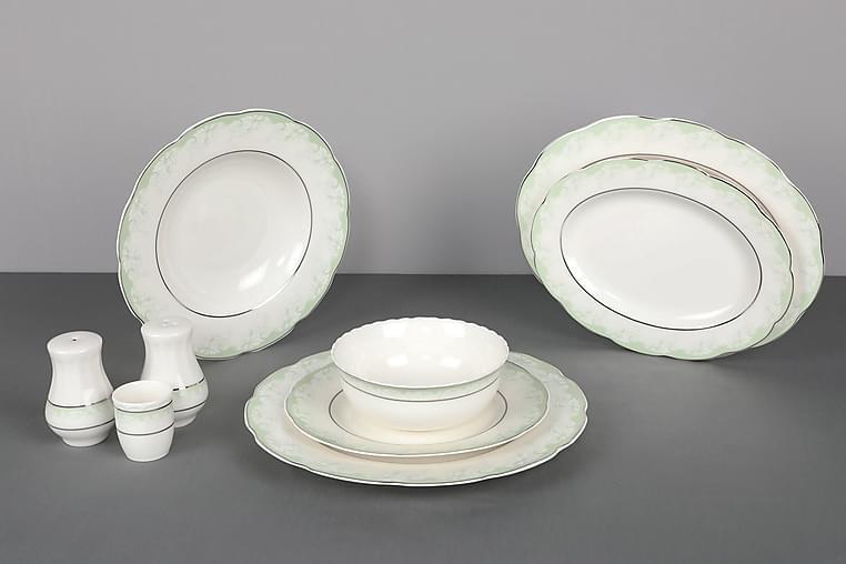 Kütahya Middagsservise 30 Deler Porselen - Hvit/Grønn - Innredning - Kjøkkenutstyr - Tallerkener