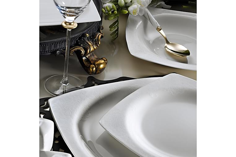 Kütahya Middagsservise 62 Deler Porselen - Hvit/Gull - Innredning - Kjøkkenutstyr - Tallerkener