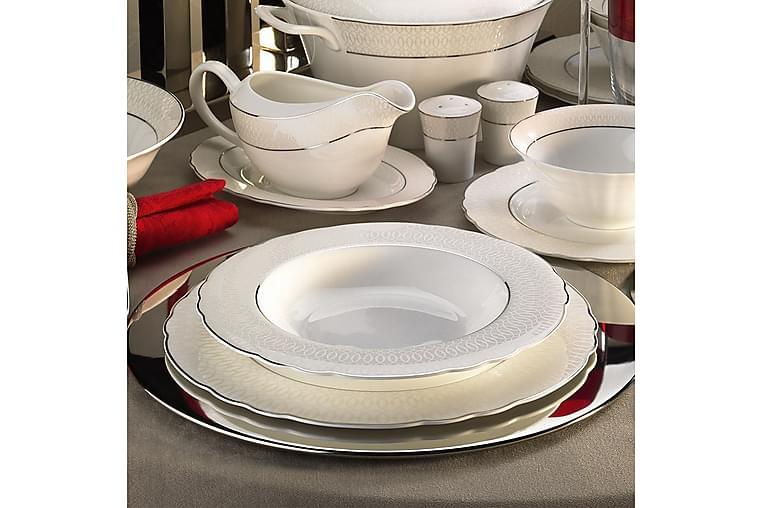 Kütahya Middagsservise 84 Deler Porselen - Hvit/Sølv - Innredning - Kjøkkenutstyr - Tallerkener