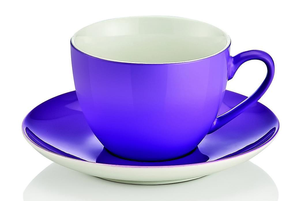 Noble Life Teservise 12 Deler Porselen - Hvit/Lilla - Innredning - Kjøkkenutstyr - Tallerkener