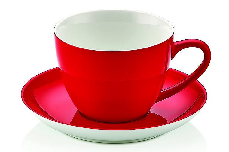 Noble Life Teservise 12 Deler Porselen - Hvit/Rød - Innredning - Kjøkkenutstyr - Tallerkener
